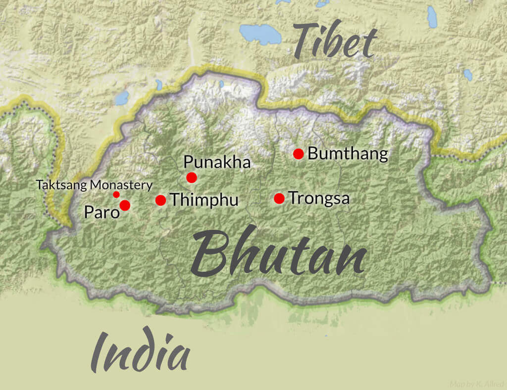 Bhutan Wilderness and travel medicine CME map