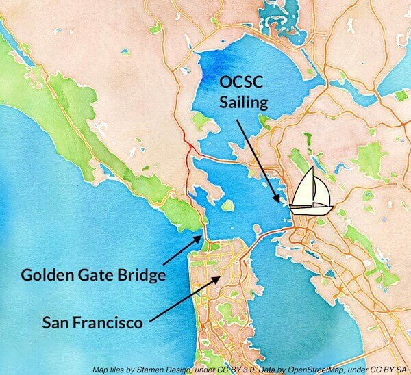 San Francisco Bay Sailing Map Medical Course