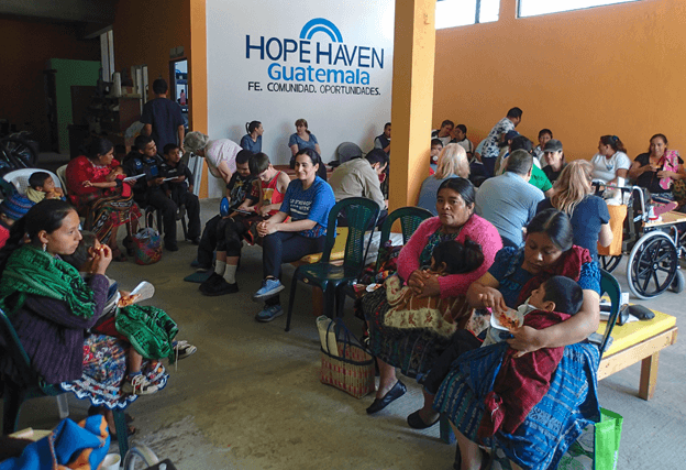 Families waiting at Hope Have