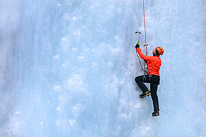 ice climbing in big sky