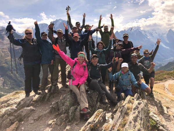 Group hiking shot on Mont Blanc