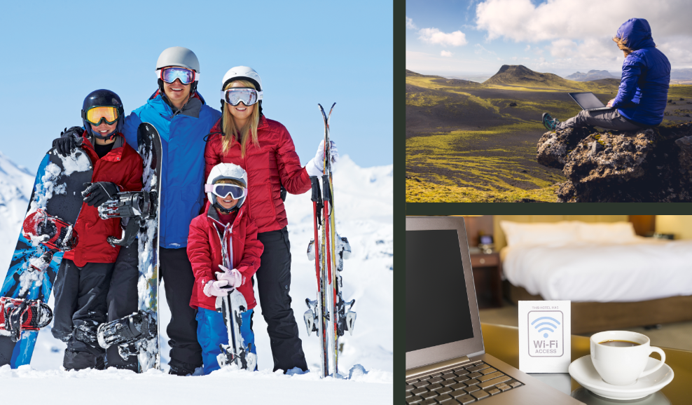 skiing, streaming, and hiking